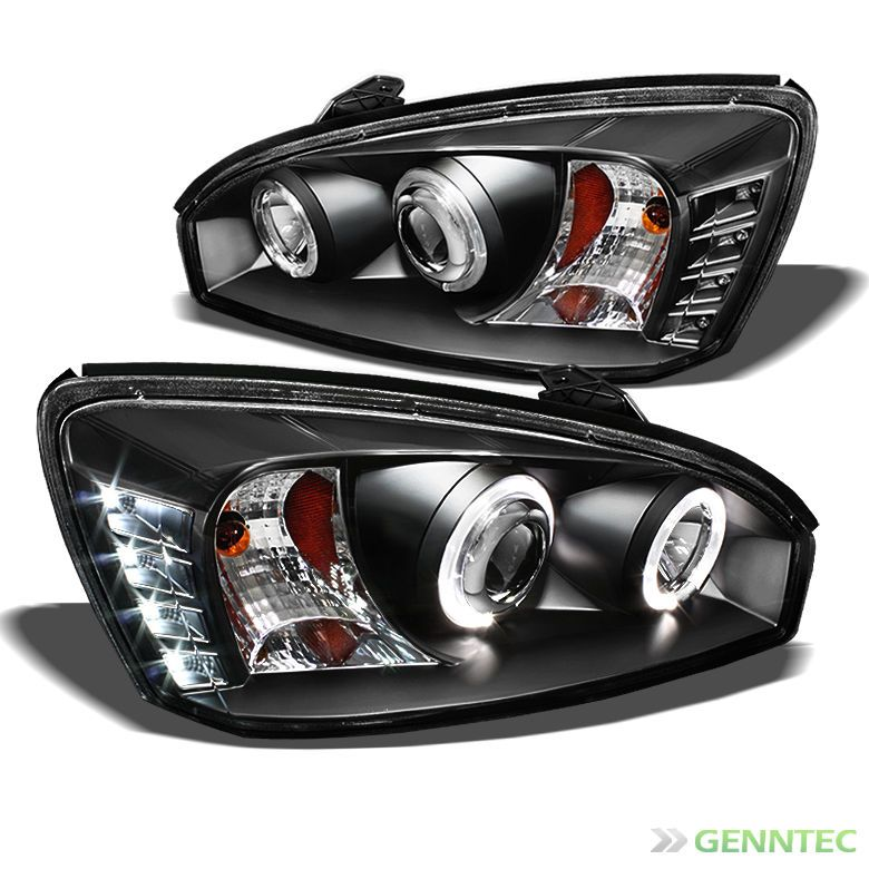 For 2004 2007 Chevy Malibu Twin Halo Led Black Projector Headlights