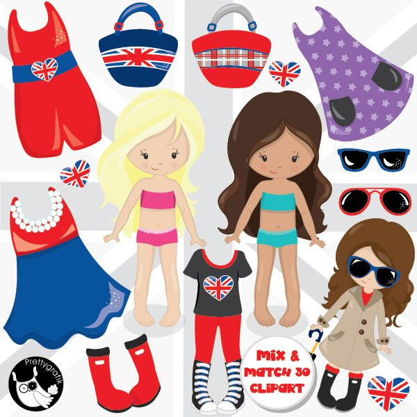 London girls clipart commercial use, paper doll vector graphics ...