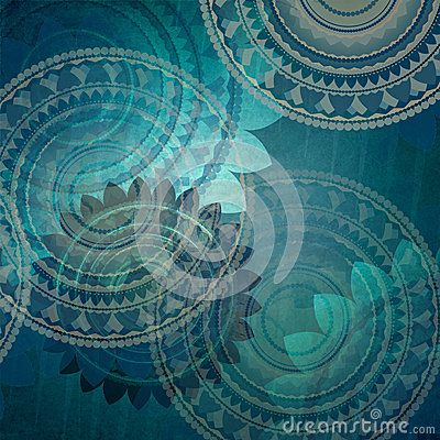Elegant blue background design with fancy seal flower shapes in
