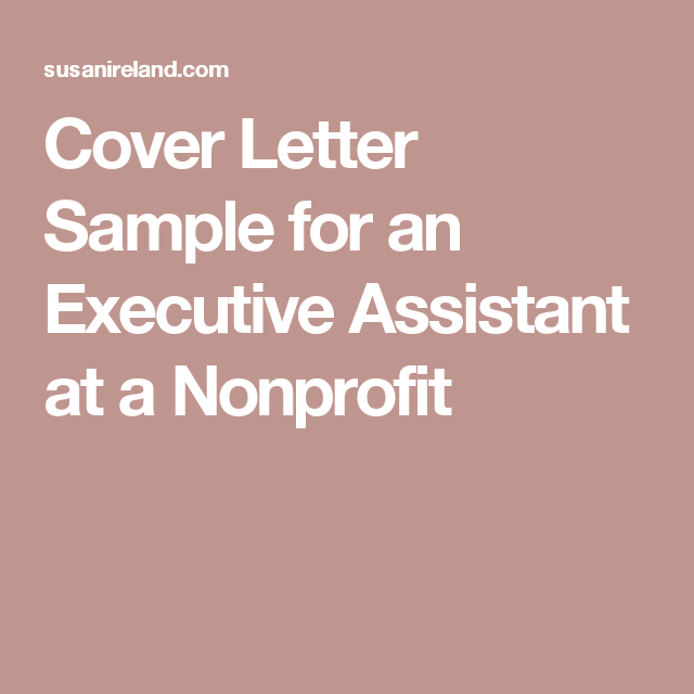 Cover Letter Sample For An Executive Assistant At A Nonprofit