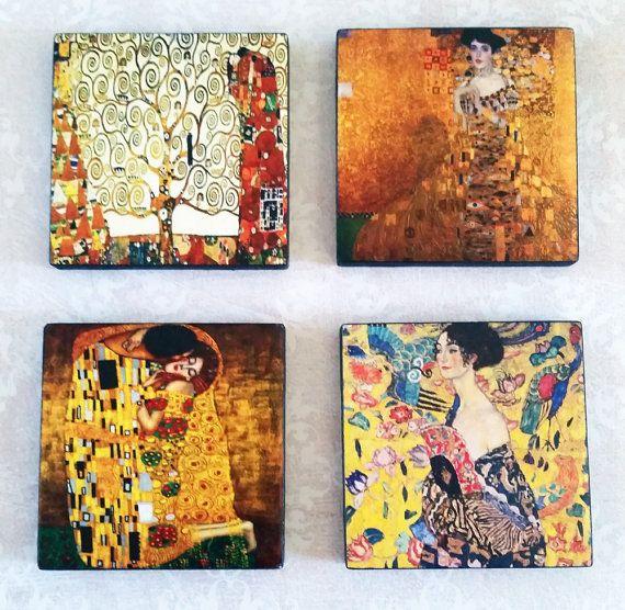 Gustav Klimt Art Ceramic Tile Magnets 2x2 by LaughingAppleDesigns on Etsy. $15