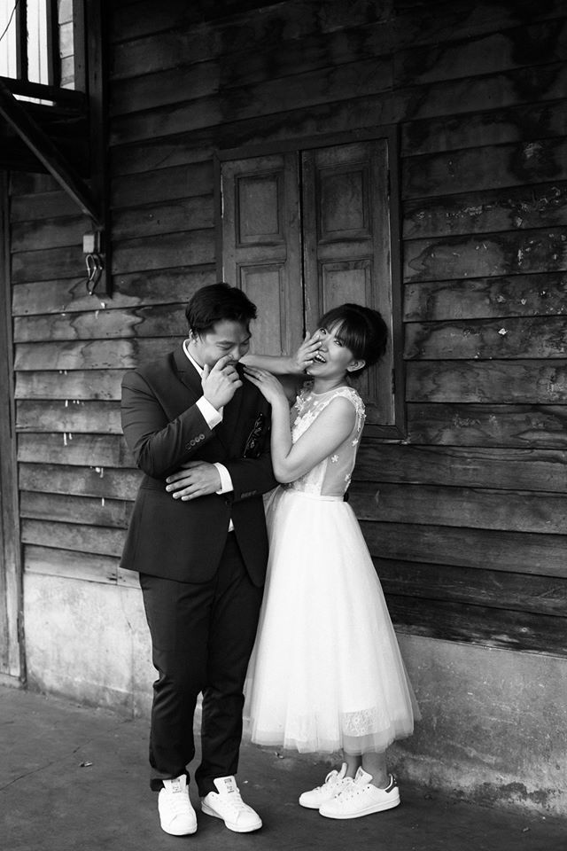 Cute Bride In A Midi Wedding Gown And Sneakers Pre Photography By