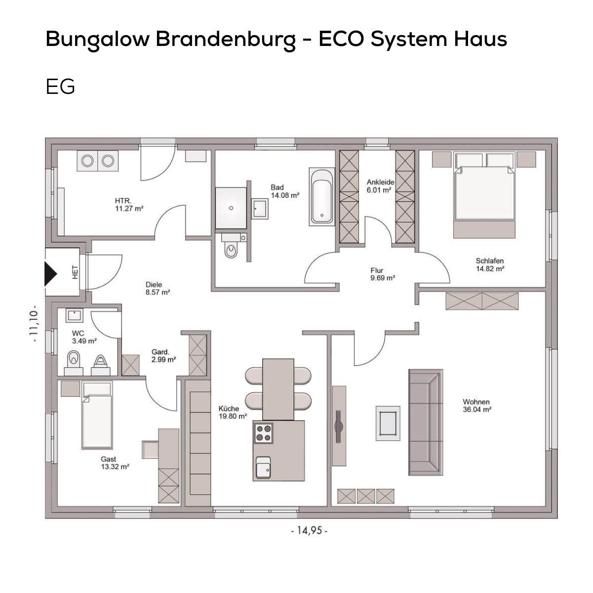 Bungalow Haus Grundriss modern mit Satteldach Architektur - 3 Zimmer ...