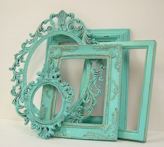 Turquoise Shabby Chic Bedrooms: Shabby Chic Picture Frames Set Aqua Turquoise Shabby Chic