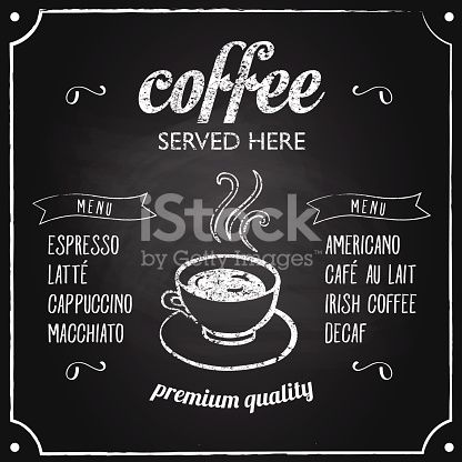 Retro coffee typography sign on a chalkboard Can be used as menu - coffee menu