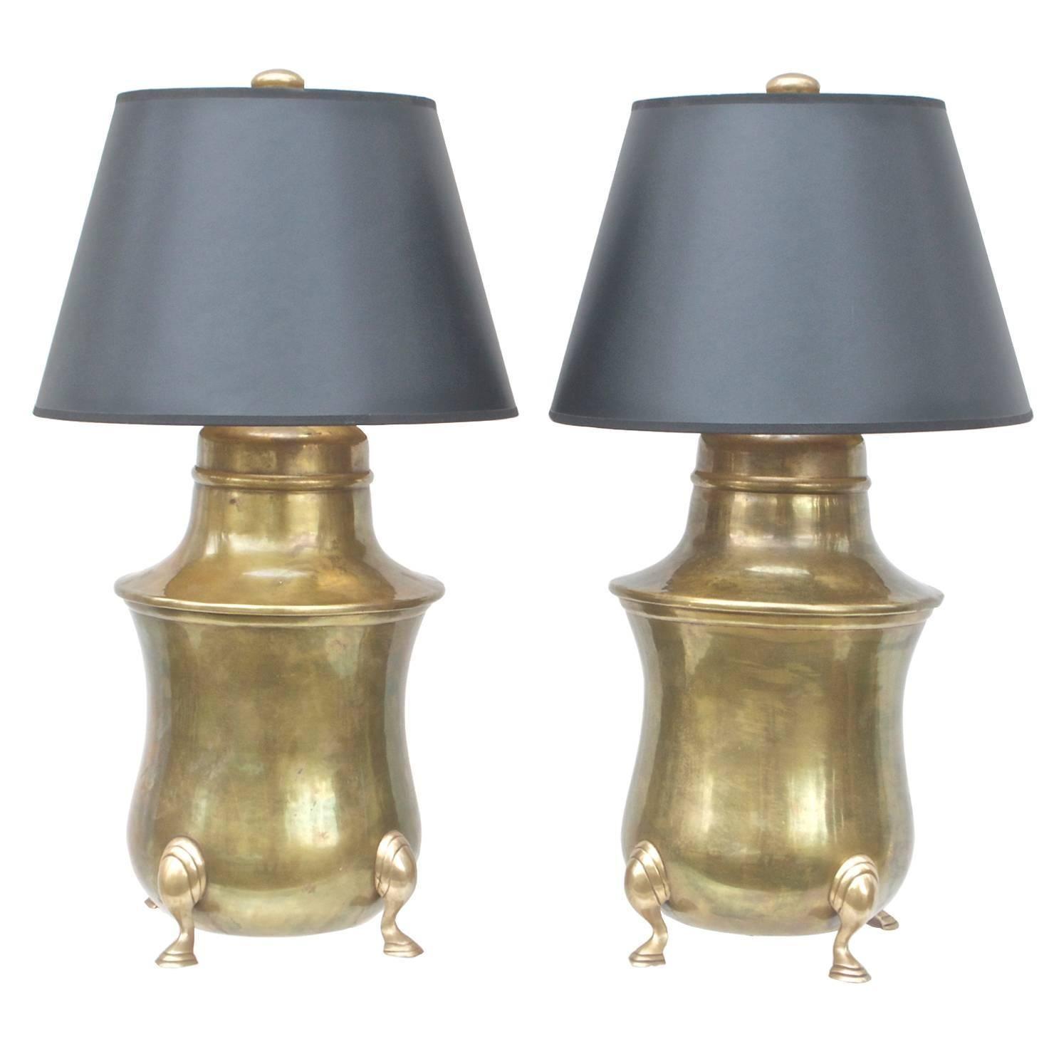 Chapman Brass Lamps of Kettle Form | 1stdibs.com
