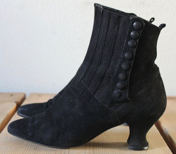 Vintage 1980s Peter Fox Black Suede Edwardian High Heel Boots