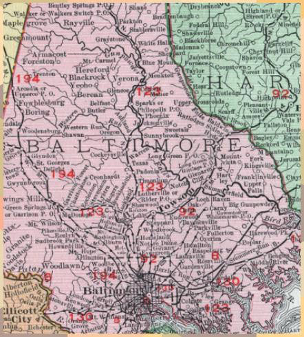 Baltimore County Maryland Map 1911 Rand Mcnally Towson Owings Mills Caton Baltimore Caton County Map Maryland Baltimore County Maryland Map In 2020