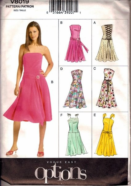 Misses\' Dress Sewing Pattern Vogue 8019 Misses\' Evening Dress Uncut ...
