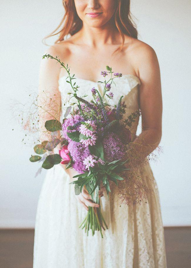 gorgeously wild and undone purple bouquet
