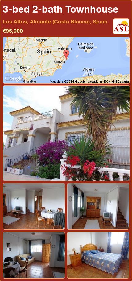 3-bed 2-bath Townhouse in Los Altos, Alicante (Costa Blanca), Spain ►€95,000 #PropertyForSaleInSpain