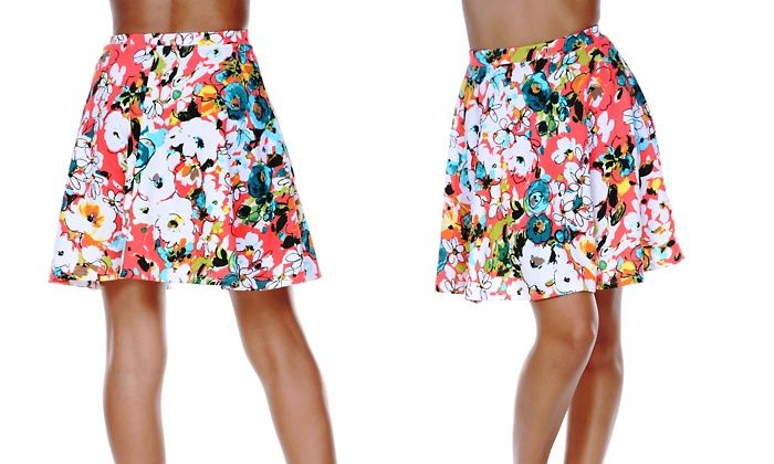 White Mark Women's Multi-Floral Heidi Skirt | Groupon
