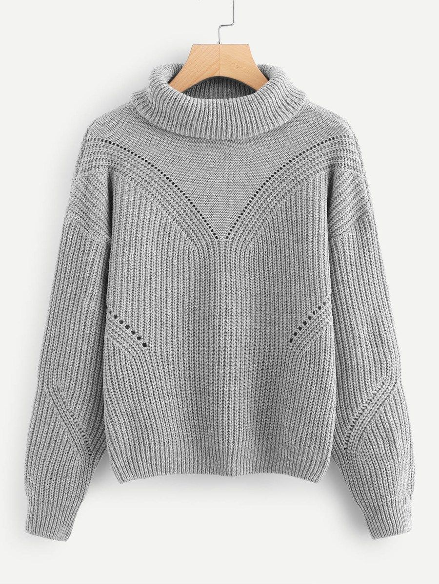 705aeca150 Rolled Up Neck Eyelet Sweater -SheIn(Sheinside) | II FASHION ...