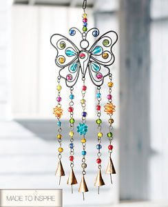 Butterfly Wind Chime made of Iron Mix Beads & Bells - Home Garden ...