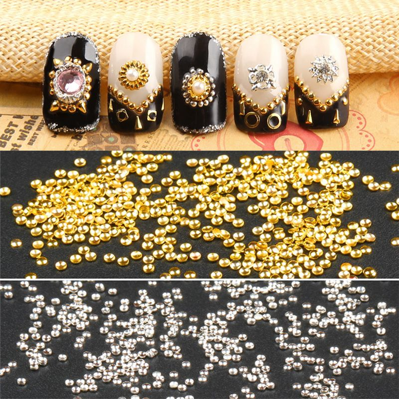 $1.43 (Buy here: http://appdeal.ru/685z ) 100Pcs 0.8mm 1mm 3D Nail Art Mini Dot Studs UV Gel Rhinestone Gems Decoration M02164 for just $1.43