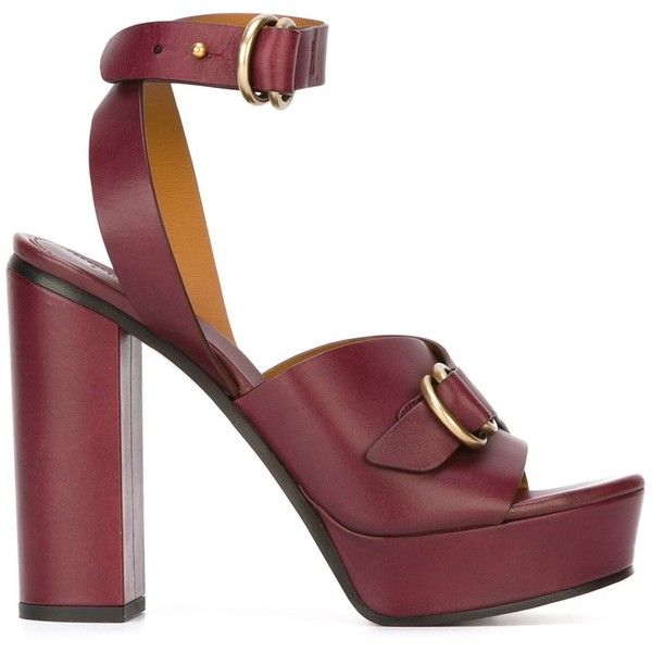 cce7cd8d8458 Chloé buckled platform sandals ( 449) ❤ liked on Polyvore featuring shoes