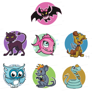 here are the pets of some of the characters from moster high the bat ...