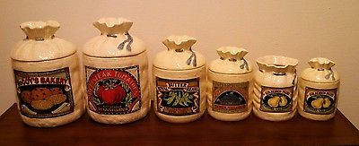 Attractive Vintage Hearth And Home Designs Burlap Sack Look Canister Set 6 Pieces 1988