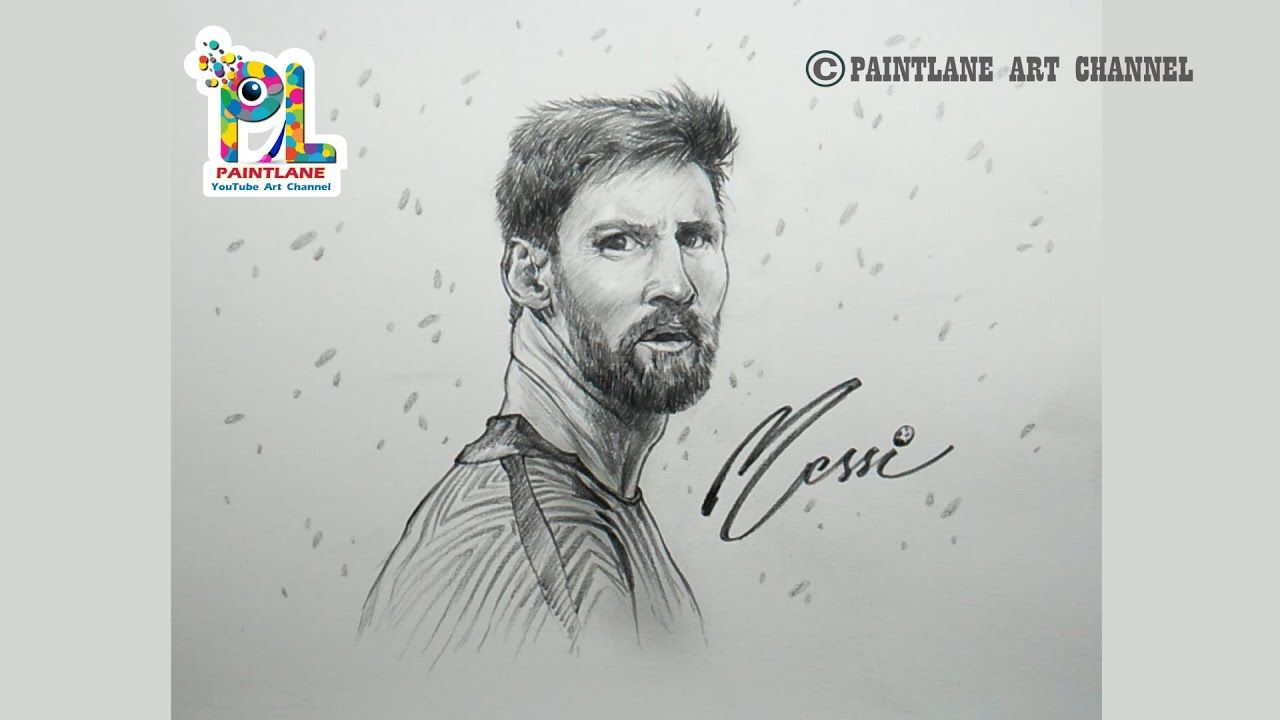 Drawing football player lionel messi by paintlane