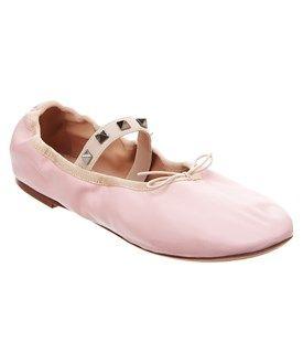 Valentino Valentino Rockstud Leather Ballet Ballerina Flat