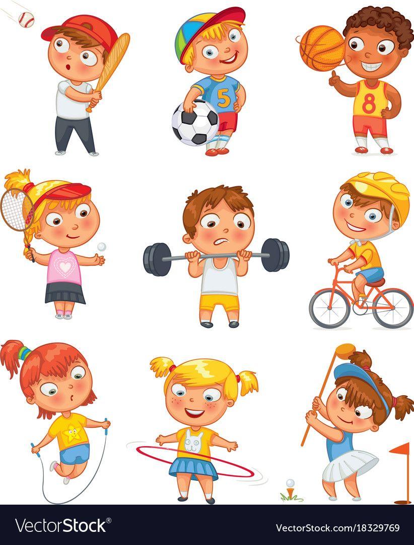Sports And Fitness Funny Cartoon Character Vector Image On Desenho De Crianca Rotinas Diarias De Criancas Trabalho De Escola