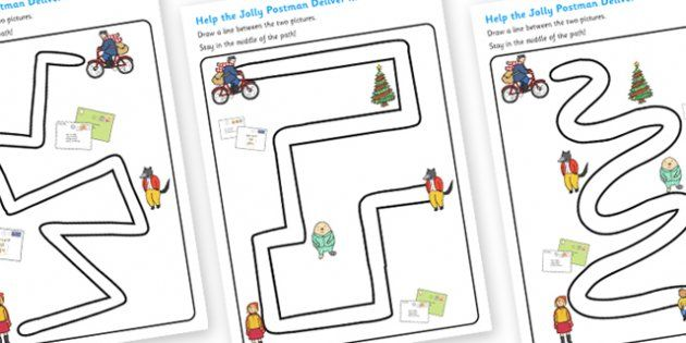 Fine Motor Control Worksheets : The jolly christmas postman pencil control path worksheets