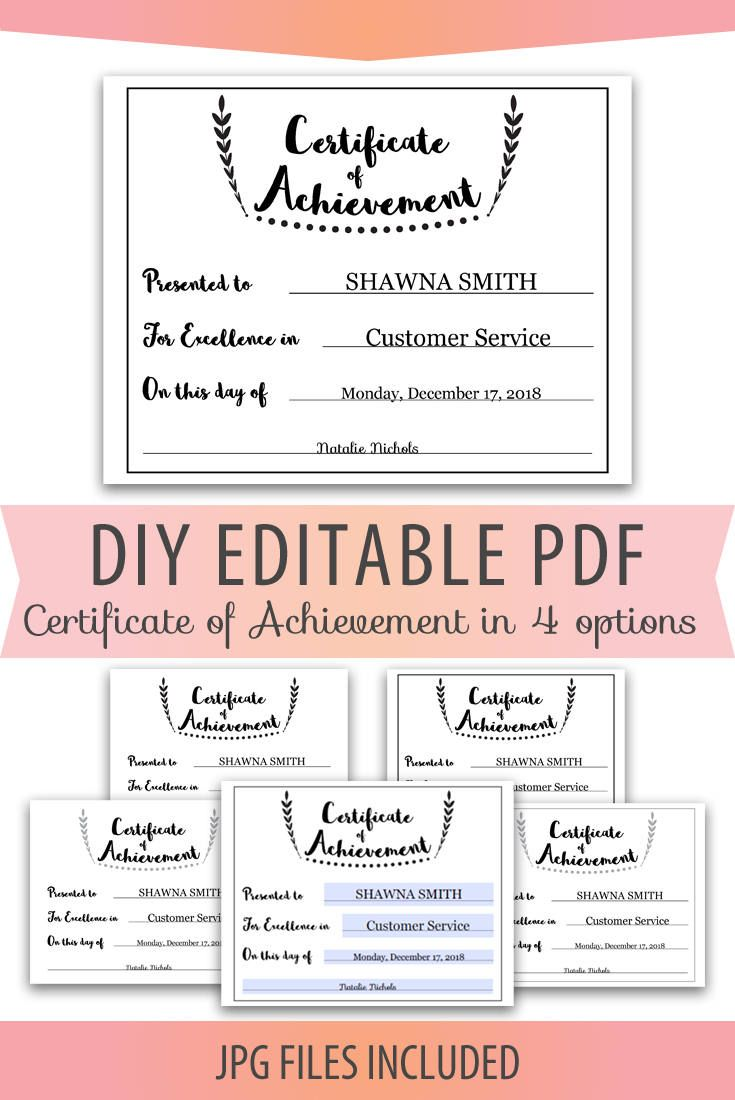 diy editable pdf certificate of achievement award template in black and gray letter size 8x10