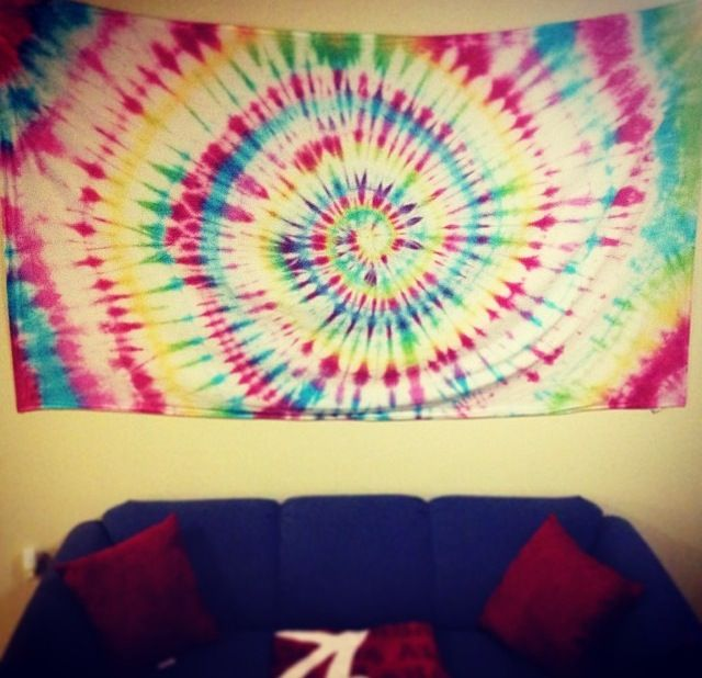What a great idea for wall art! Take a white sheet, tie-dye it, then ...