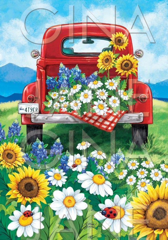 Prairie Frontier Pioneer Farmhouse Woman Flowers   Vintage Red Truck   Summer Flowers DIY Craft Printable Farmhouse Style Home Decor