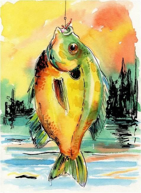 Original Fish Watercolor Art Bluegill By Barry Singer