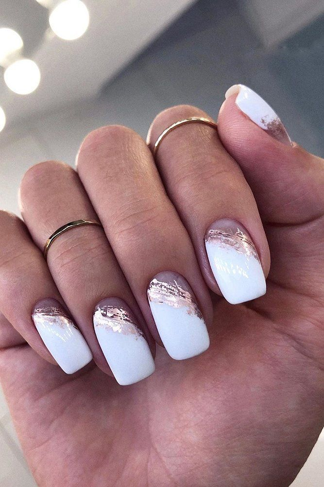 30 White Nail Designs Bridal Ideas Full Of Style ❤ white-nail-designs-wedding-white-with-gold-id_nails_space #weddingforward #wedding #bride #weddingnails #whitenaildesigns