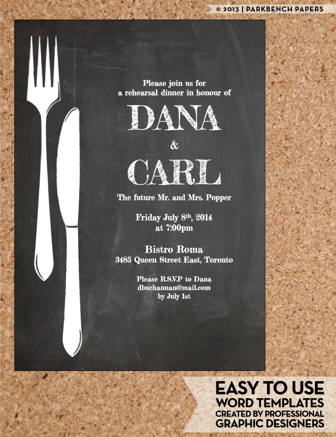 rehearsal dinner invitation chalkboard chic diy word template