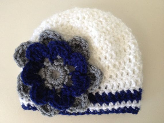 f15a0476891 Items similar to Baby Girl Crochet Baseball Team Colors Beanie with flower  York Yankees photo prop beanie (choose team) on Etsy