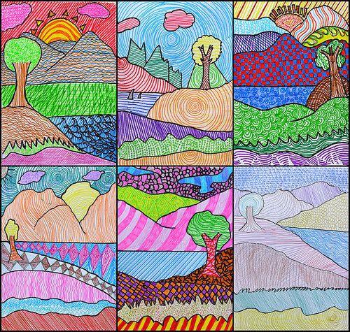 Un Paysage Texture Art De L Ecole Primaire Art Plastique Planifications De Cours D Art