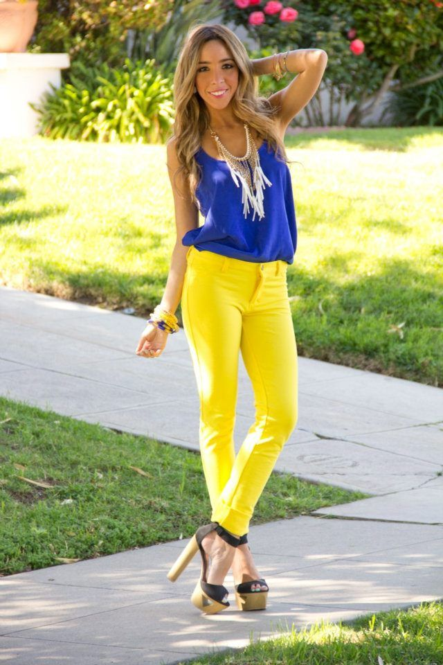 Shirt blue yellow pants with What Color