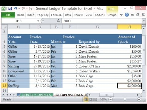 How to create General Ledger and Trial Balance with Excel - ledger form