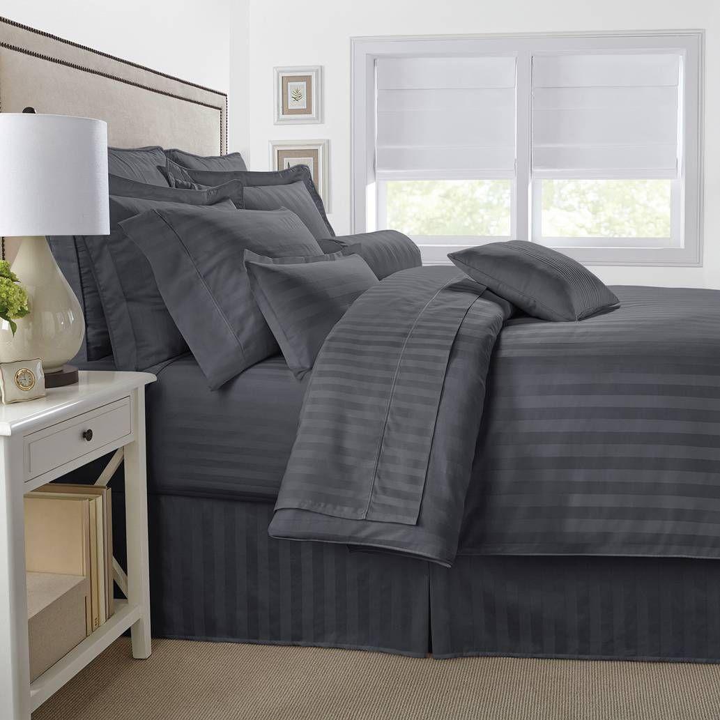 Threadcount damask stripe reversible duvet cover set damasks