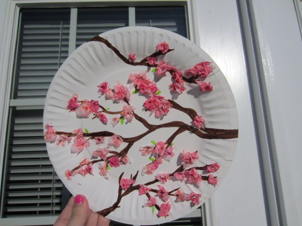 Cherry Blossom Paper Plate Craft