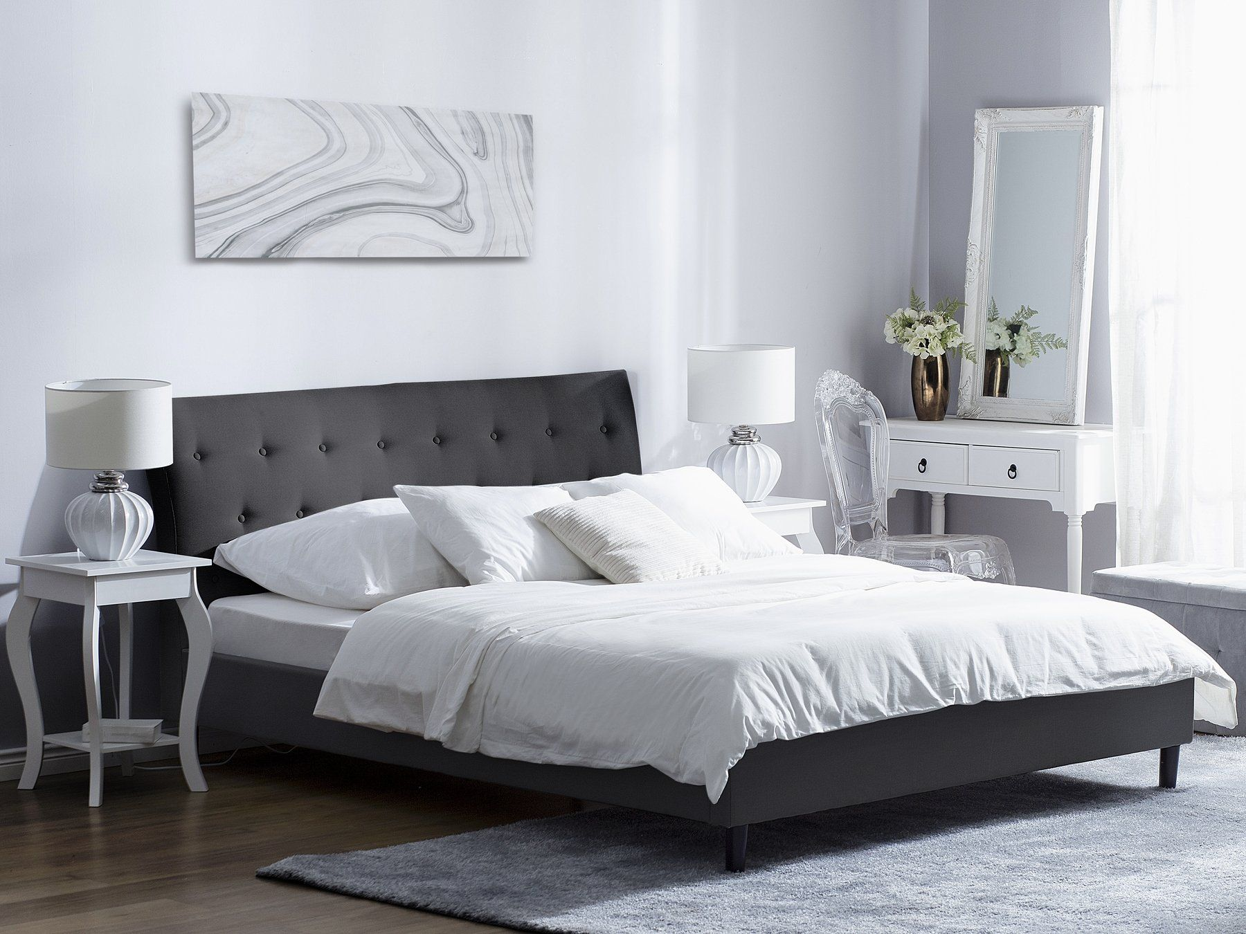Fabric EU Super King Size Bed Dark Grey SAVERNE in 2020