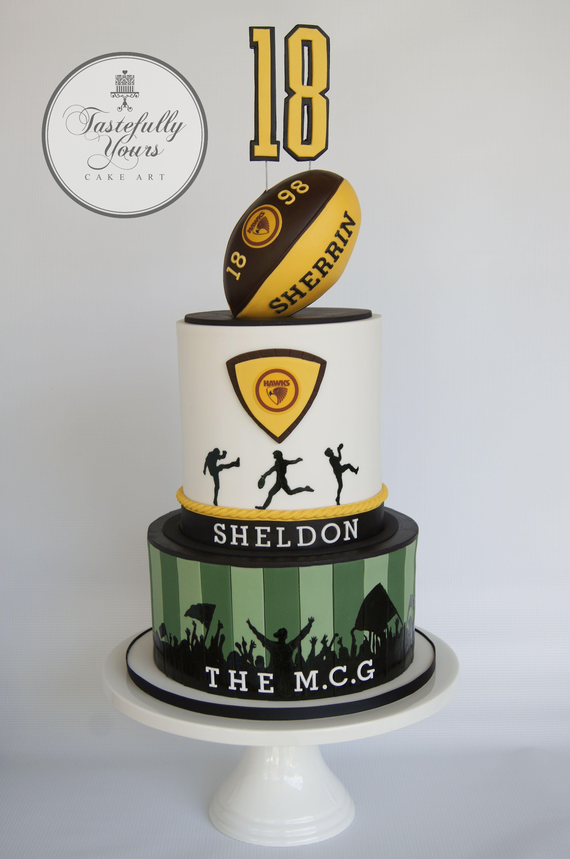 Hawthorn Football Club Cake 18th Birthday By Tastefully Yours Cake Art Specialist In Original Cake Design That Is Cake Art Sport Cakes 18th Birthday Cake