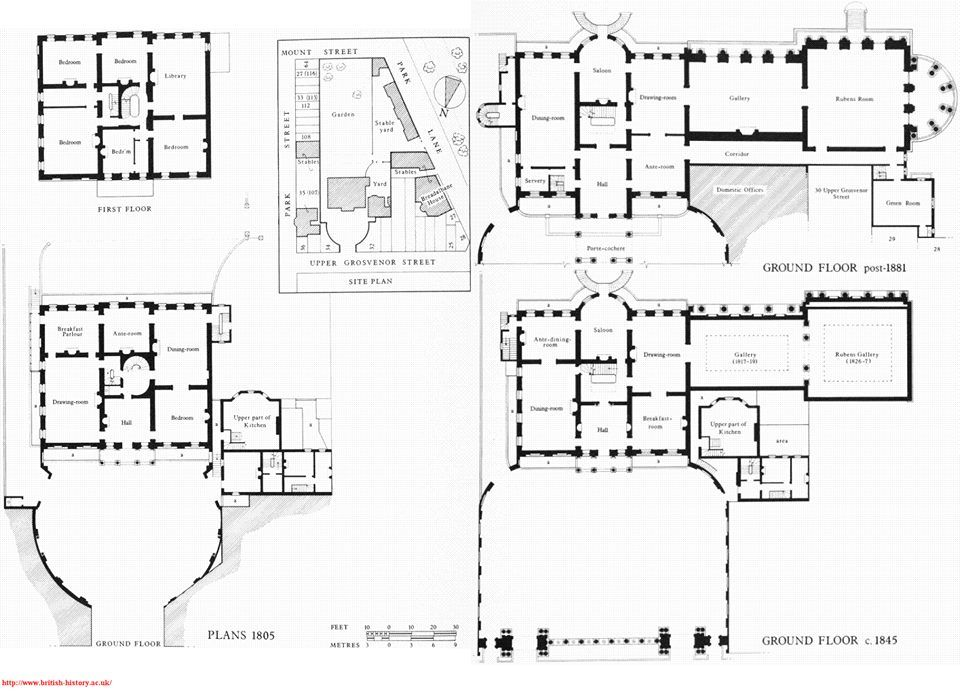 Old Grosvenor House Demolished Plans In 1805 C 1845 Showing Porden S Gallery As Altered And Extended By T How To Plan Vintage House Plans Grosvenor House