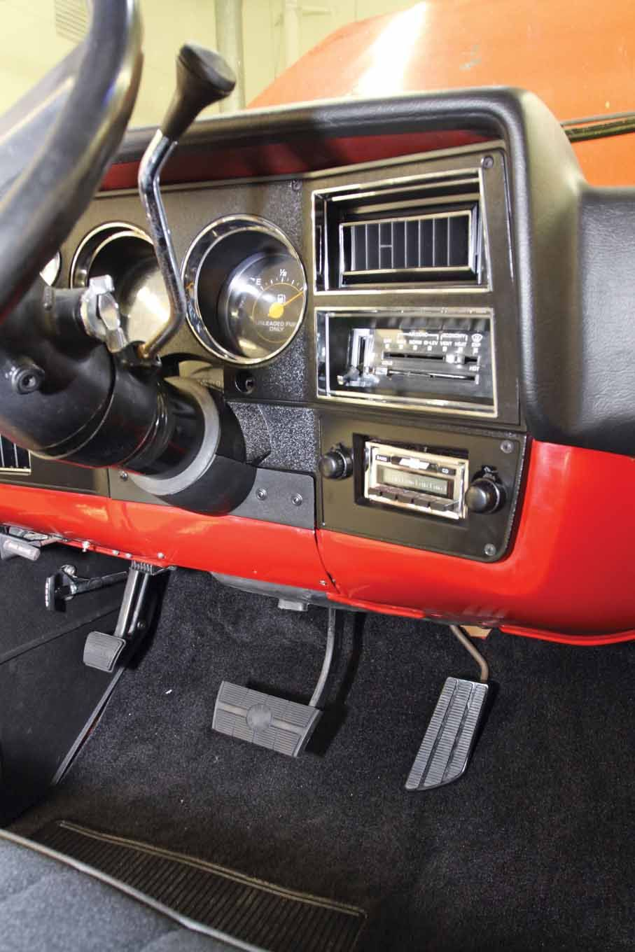 This Angle Shows How Nice The Dash Bezel Dash Cover Am Fm Stereo Pedal Pad And Carpet Kit Look After Bein Lmc Truck Classic Cars Trucks Chevy Truck Interior