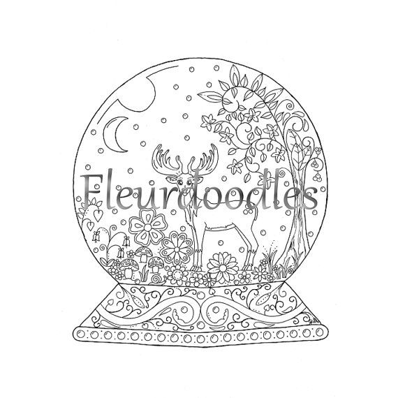 adult coloring page - Snow Globe - instant download, hand-drawn ...