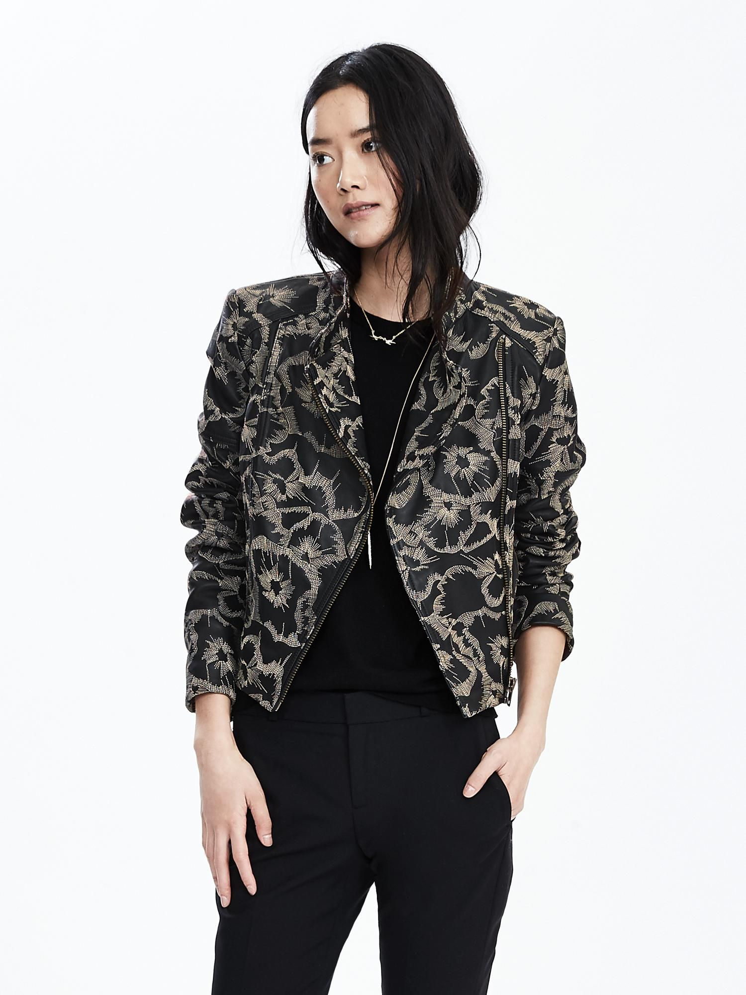 Banana Republic Floral Leather Moto Edgy fashion chic