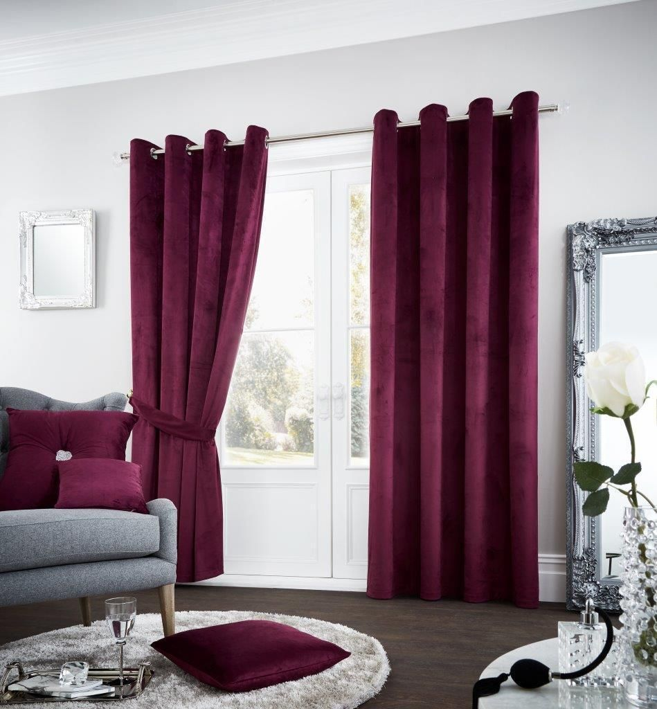 Riviara Aubergine Lined Eyelet Curtains