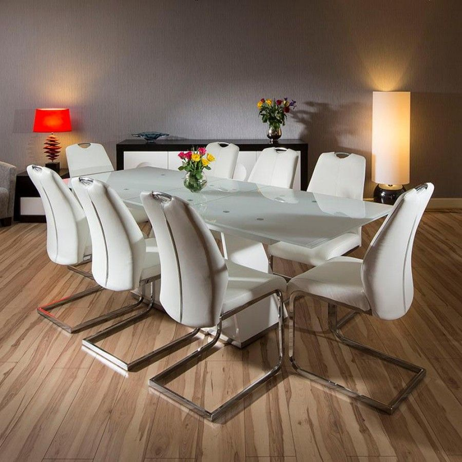 Modern White Dining Set Glass Top Extending Table 8 Chairs 180