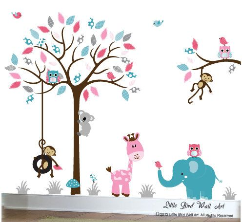 Pink grey and turquoise childrens nursery jungle wall decal | Etsy