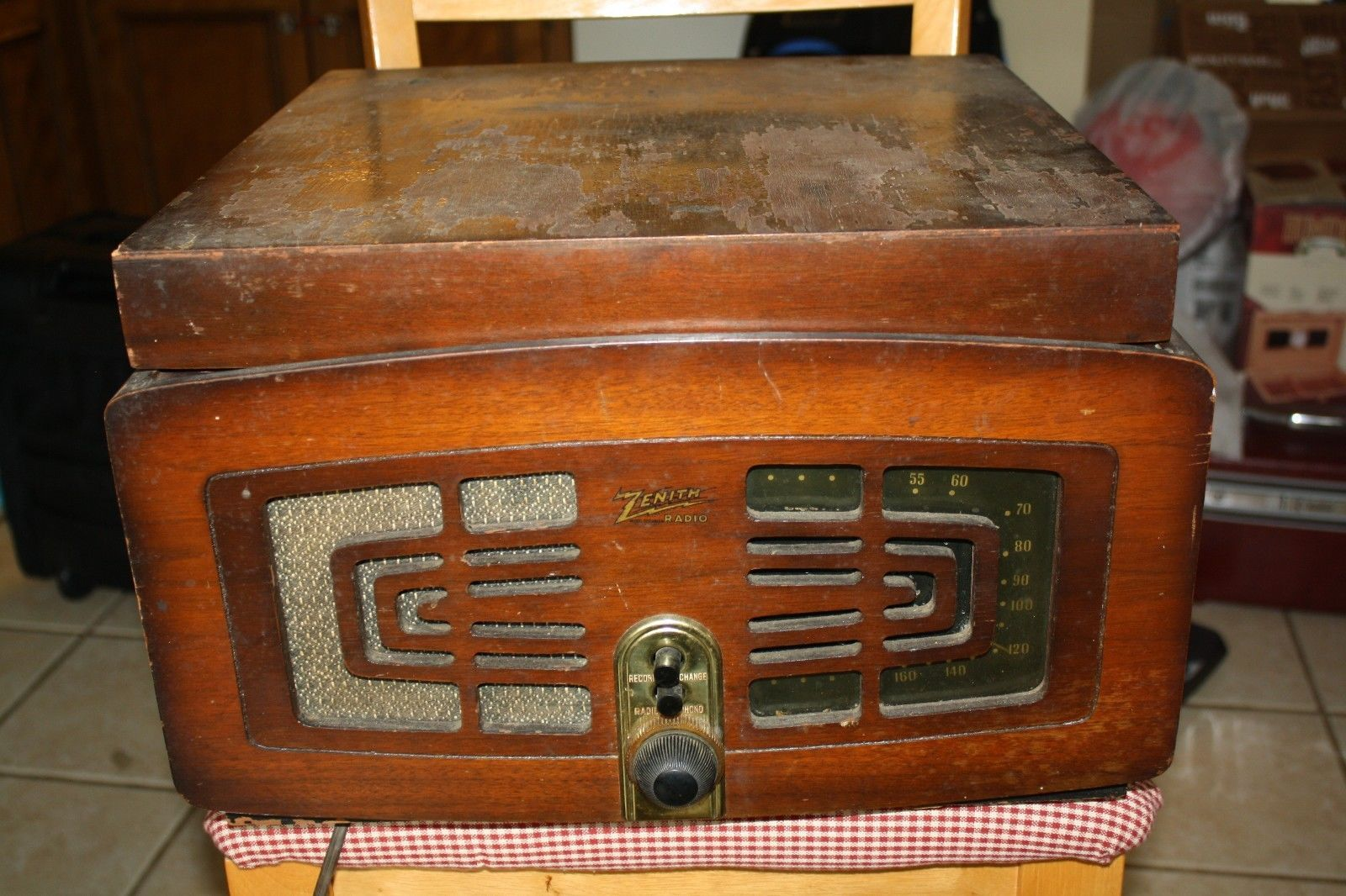 Vintage Zenith 5r086 Tube Radio Phonograph Record Player Combo Wood Works Ebay Phonograph Record Player Vintage Radio Antique Radio