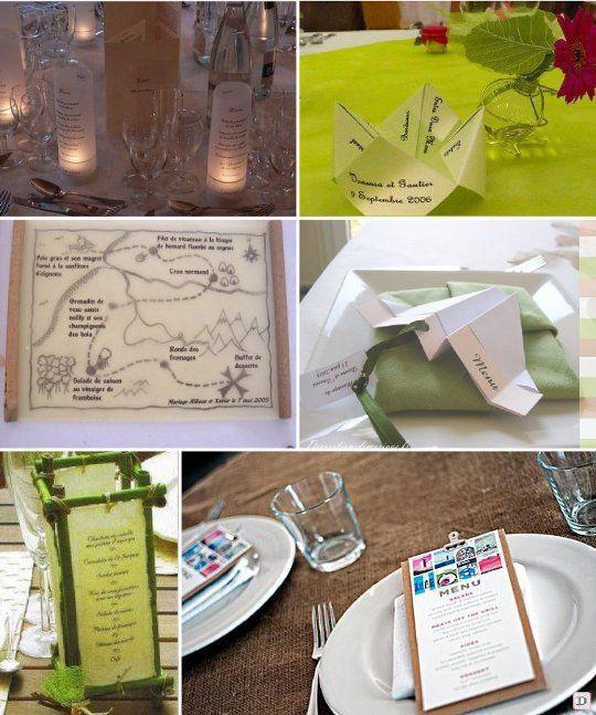 Idees menu mariage carte geographique origami cocotte for Idee menu anniversaire de mariage