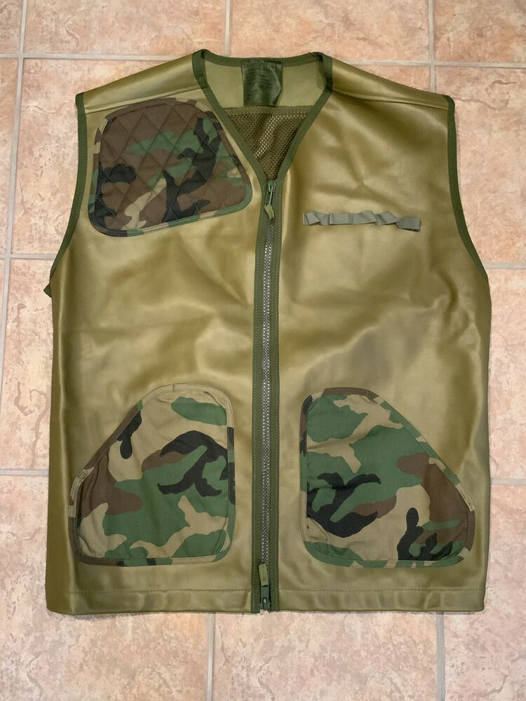 Military Jerkin Shooting Vest Leather Mesh Right Hand Camo